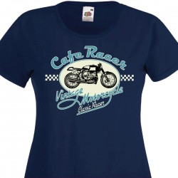 T-shirt Cafe Racer Checkered Flag - Bordeaux